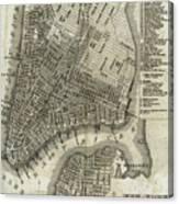 Vintage Map Of New York City - 1842 Canvas Print