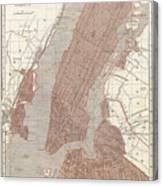 Vintage Map Of New York City - 1845 Canvas Print