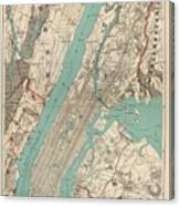 Vintage Map Of New York City - 1890 Canvas Print
