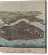 Vintage Map Of New York City - 1905 Canvas Print