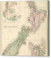 Vintage Map Of New Zealand - 1854 Canvas Print