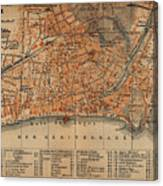 Vintage Map Of Nice France - 1914 Canvas Print