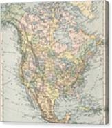 Vintage Map Of North America - 1892 Canvas Print