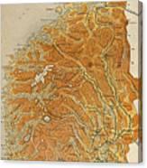 Vintage Map Of Norway - 1914 Canvas Print