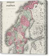 Vintage Map Of Norway And Sweden - 1865 Canvas Print