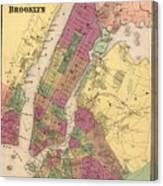 Vintage Map Of Nyc And Brooklyn - 1868 Canvas Print