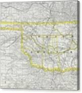 Vintage Map Of Oklahoma - 1889 Canvas Print