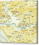 Vintage Map Of Olympia Greece - 1894 Canvas Print