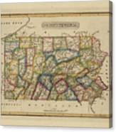 Antique Map Of Pennsylvania Canvas Print