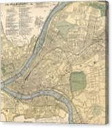 Vintage Map Of Pittsburgh Pa - 1891 Canvas Print