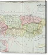 Vintage Map Of Puerto Rico - 1901 Canvas Print