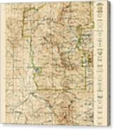 Vintage Map Of Rocky Mountain National Park - Colorado - 1919/1940 Canvas Print