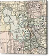 Vintage Map Of Salt Lake City - 1891 Canvas Print