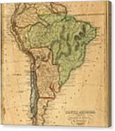 Vintage Map Of South America - 1821 Canvas Print
