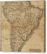 Vintage Map Of South America - 1825 Canvas Print