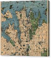 Vintage Map Of Sydney Australia - 1922 Canvas Print