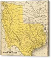 Vintage Map Of Texas - 1847 Canvas Print