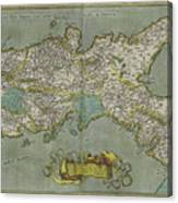 Vintage Map Of The Kingdom Of Naples - 1608 Canvas Print