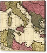Vintage Map Of The Mediterranean - 1695 Canvas Print