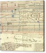 Vintage Map Of The Nyc Railways  Canvas Print