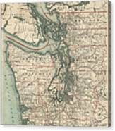 Vintage Map Of The Puget Sound - 1910 Canvas Print