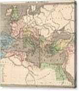 Vintage Map Of The Roman Empire - 1838 Canvas Print