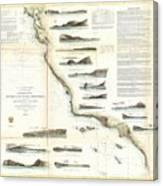 Vintage Map Of The U.s. West Coast - 1853 Canvas Print