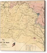 Vintage Map Of The Virginia Battlefields - 1861 Canvas Print