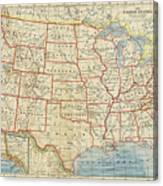 Vintage Map Of United States, 1883 Canvas Print