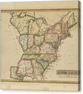 Antique Map Of United States Canvas Print