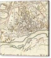 Vintage Map Of Warsaw Poland - 1831 Canvas Print
