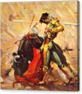 Vintage Mexico Bullfight Travel Poster Canvas Print