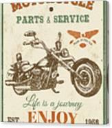 Vintage Motorcycling Mancave-c Canvas Print
