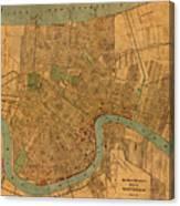 Vintage New Orleans Louisiana Street Map 1919 Retro Cartography Print On Worn Canvas Canvas Print