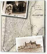 Vintage New York Map With Ellis Island Canvas Print