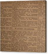Vintage Old Classified Newspaper Ads Canvas Print