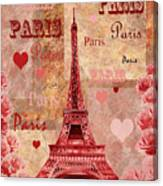Vintage Paris And Roses Canvas Print