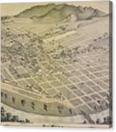 Vintage Pictorial Map Of El Paso Texas - 1886 Canvas Print