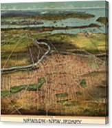 Vintage Pictorial Map Of Newark Nj - 1916 Canvas Print