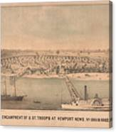 Vintage Pictorial Map Of Newport News Va - 1862 Canvas Print