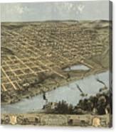 Vintage Pictorial Map Of Omaha Nebraska - 1868 Canvas Print