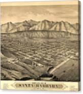 Vintage Pictorial Map Of Santa Barbara Ca - 1877 Canvas Print