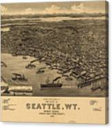 Vintage Pictorial Map Of Seattle - 1884 Canvas Print