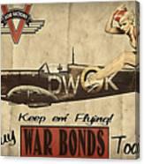 Vintage Pinup Warbond Ad Canvas Print
