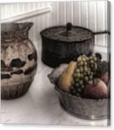 Vintage Pitcher, Pan, And Fruit Bowl Canvas Print