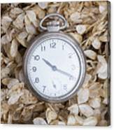 Vintage Pocket Watch Over Dried Flowers Canvas Print