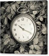 Vintage Pocket Watch Over Flowers Canvas Print