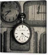 Vintage Pocket Watch Over Old Clocks Canvas Print