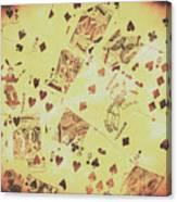 Vintage Poker Card Background Canvas Print