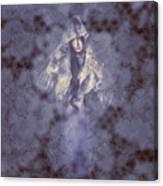 Vintage Portrait. Elegant Girl Wearing Lace Veil Canvas Print